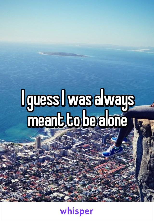 I guess I was always meant to be alone