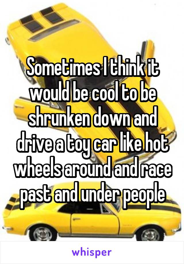 Sometimes I think it would be cool to be shrunken down and drive a toy car like hot wheels around and race past and under people