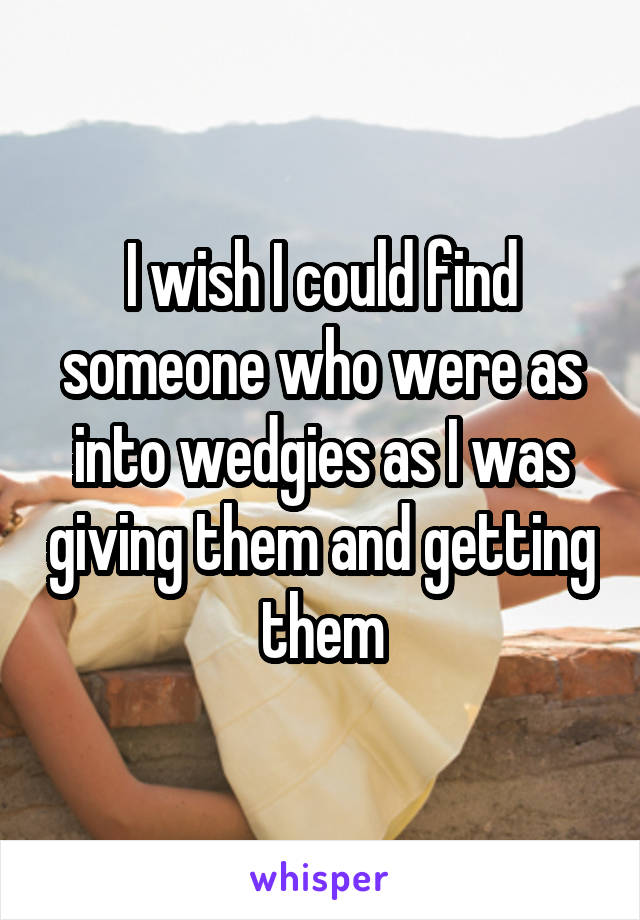 I wish I could find someone who were as into wedgies as I was giving them and getting them