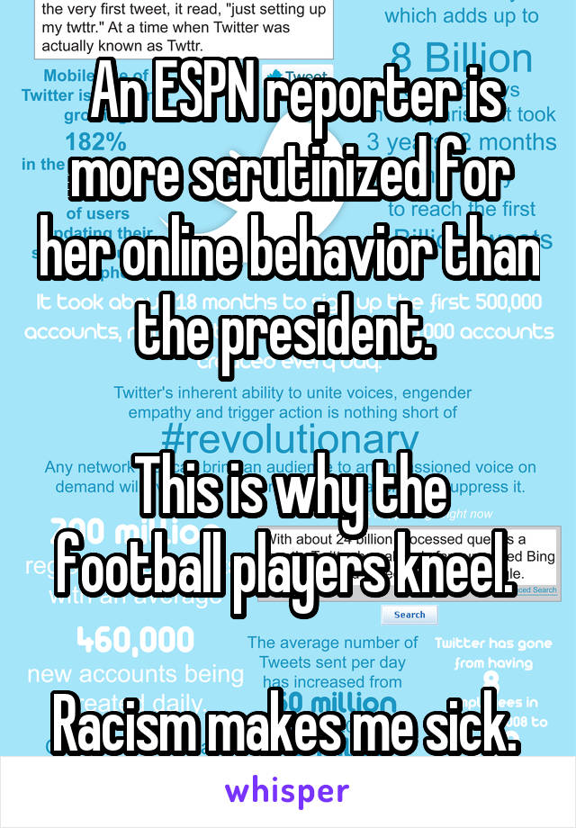 An ESPN reporter is more scrutinized for her online behavior than the president.   This is why the football players kneel.   Racism makes me sick.
