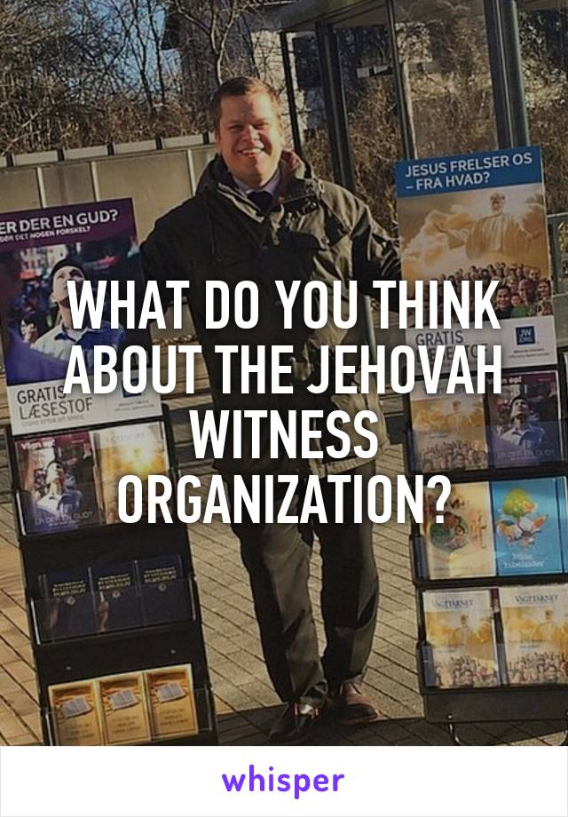 WHAT DO YOU THINK ABOUT THE JEHOVAH WITNESS ORGANIZATION?