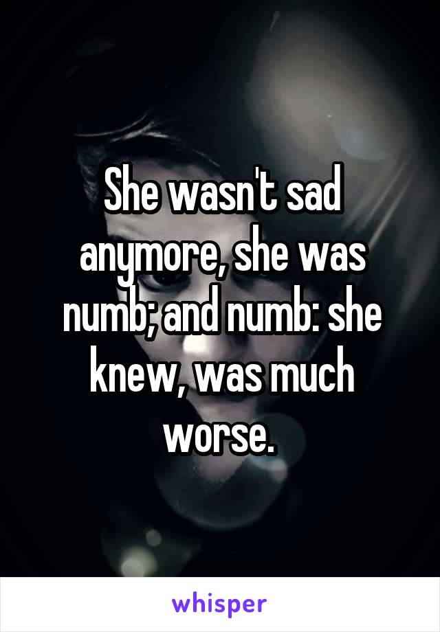 She wasn't sad anymore, she was numb; and numb: she knew, was much worse.