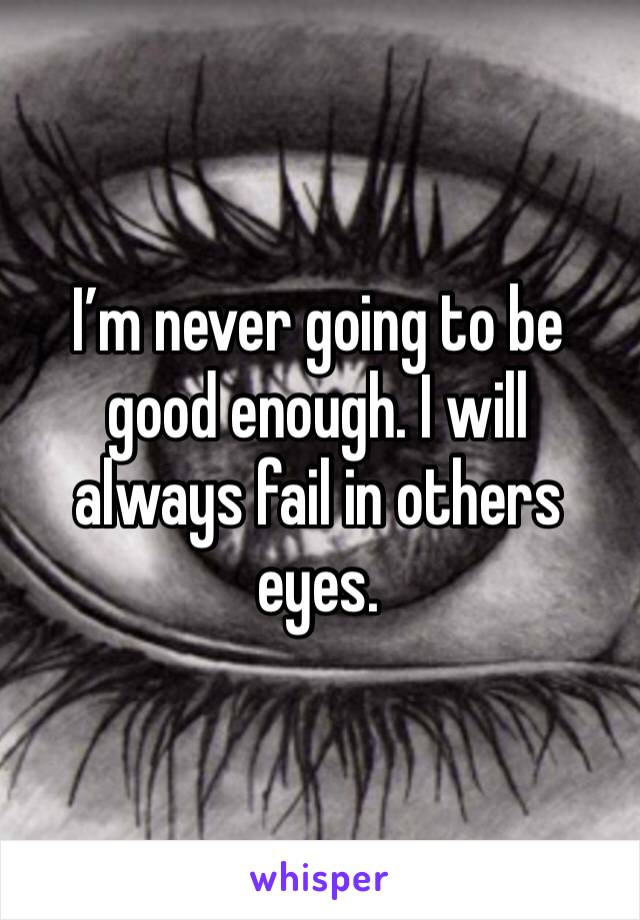 I'm never going to be good enough. I will always fail in others eyes.