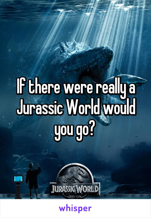If there were really a Jurassic World would you go?