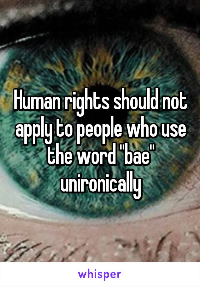 """Human rights should not apply to people who use the word """"bae"""" unironically"""