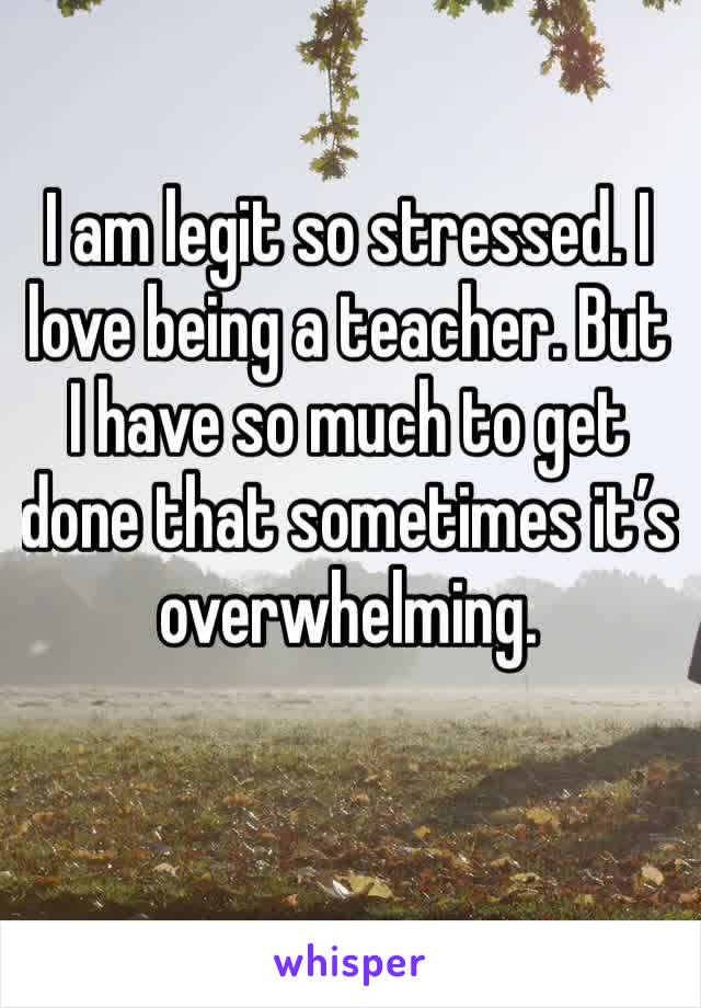 I am legit so stressed. I love being a teacher. But I have so much to get done that sometimes it's overwhelming.
