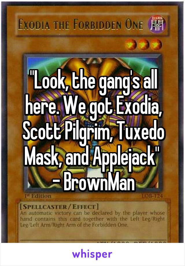 """Look, the gang's all here. We got Exodia, Scott Pilgrim, Tuxedo Mask, and Applejack""  - BrownMan"