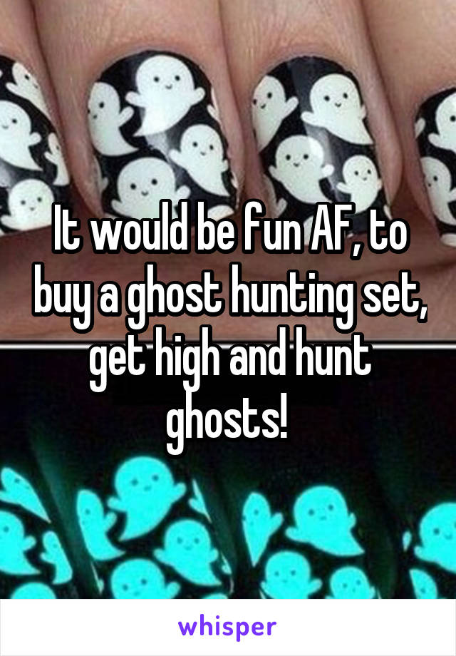 It would be fun AF, to buy a ghost hunting set, get high and hunt ghosts!