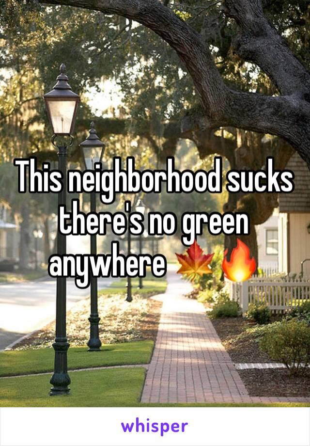 This neighborhood sucks there's no green anywhere 🍁🔥