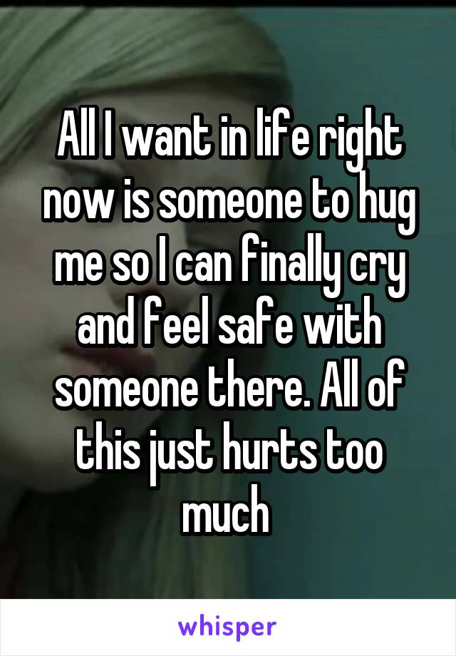 All I want in life right now is someone to hug me so I can finally cry and feel safe with someone there. All of this just hurts too much