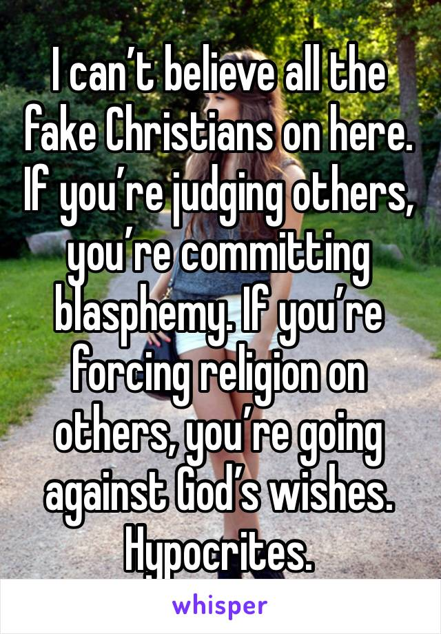 I can't believe all the fake Christians on here. If you're judging others, you're committing blasphemy. If you're forcing religion on others, you're going against God's wishes.  Hypocrites.