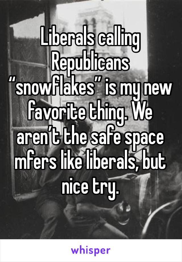 "Liberals calling Republicans ""snowflakes"" is my new favorite thing. We aren't the safe space mfers like liberals, but nice try."