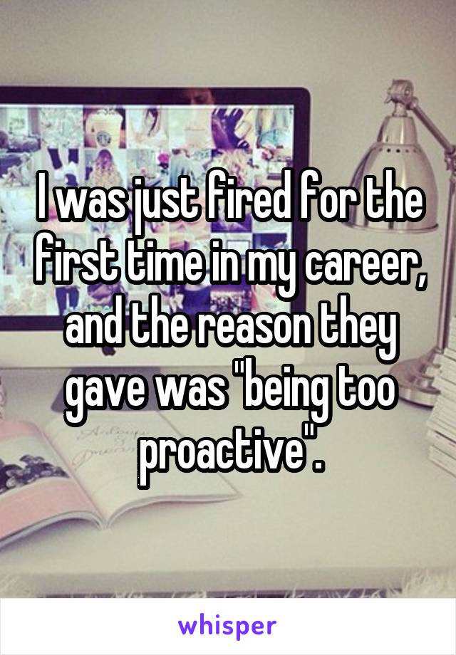 """I was just fired for the first time in my career, and the reason they gave was """"being too proactive""""."""