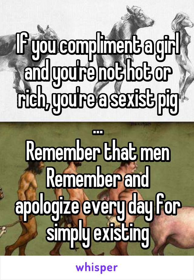If you compliment a girl and you're not hot or rich, you're a sexist pig ... Remember that men Remember and apologize every day for simply existing
