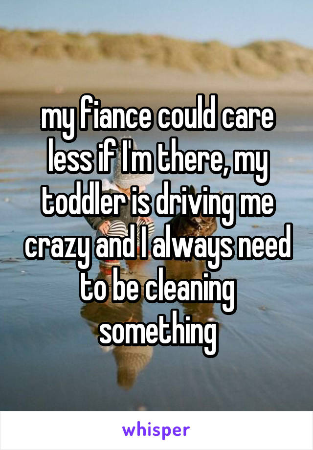 my fiance could care less if I'm there, my toddler is driving me crazy and I always need to be cleaning something