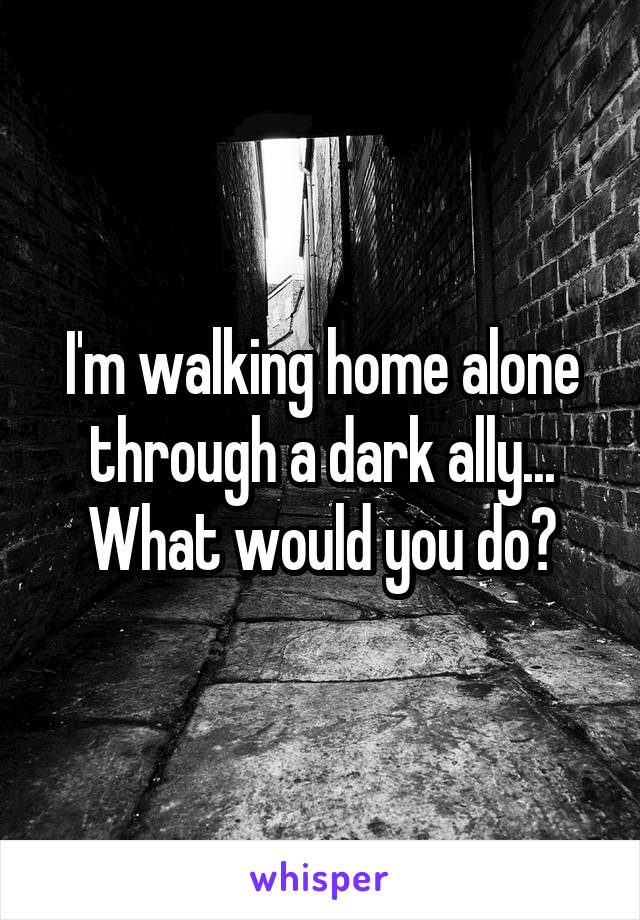 I'm walking home alone through a dark ally... What would you do?