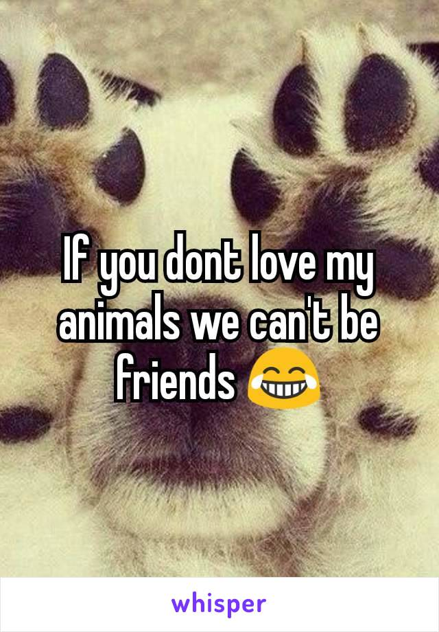 If you dont love my animals we can't be friends 😂