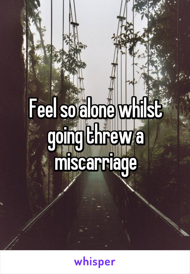 Feel so alone whilst going threw a miscarriage