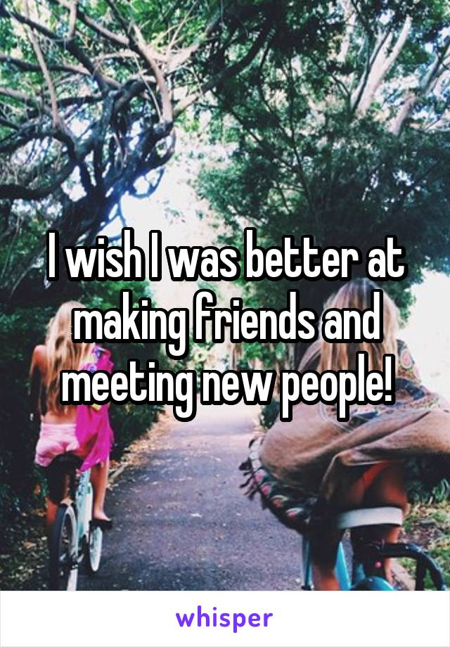 I wish I was better at making friends and meeting new people!
