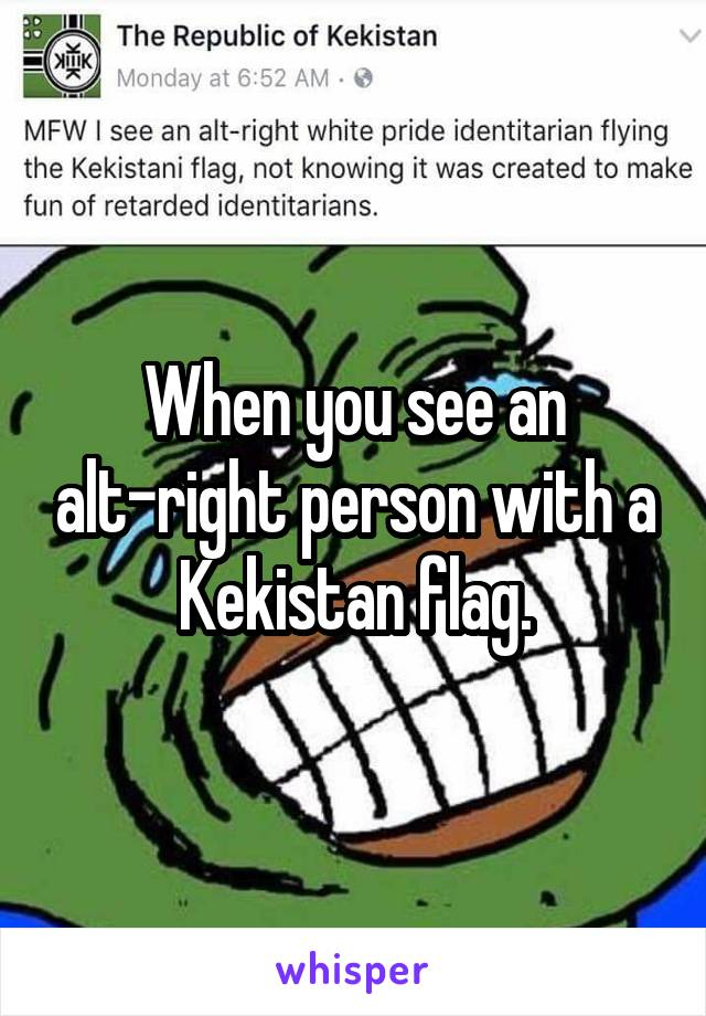 When you see an alt-right person with a Kekistan flag.
