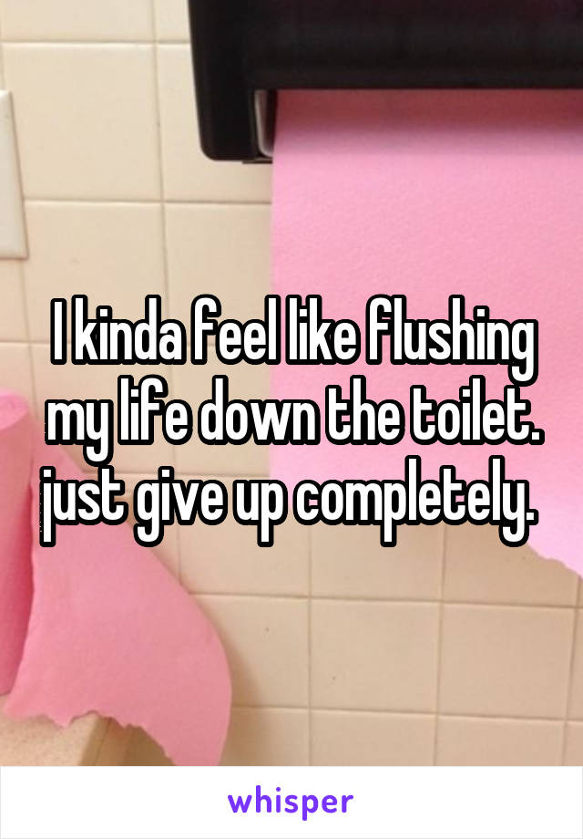 I kinda feel like flushing my life down the toilet. just give up completely.