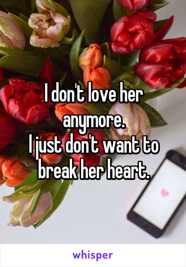 I don't love her anymore. I just don't want to break her heart.