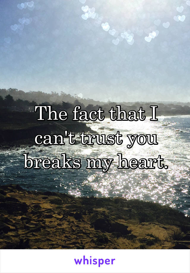 The fact that I can't trust you breaks my heart.