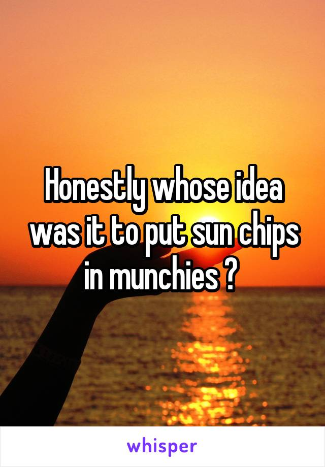 Honestly whose idea was it to put sun chips in munchies ?