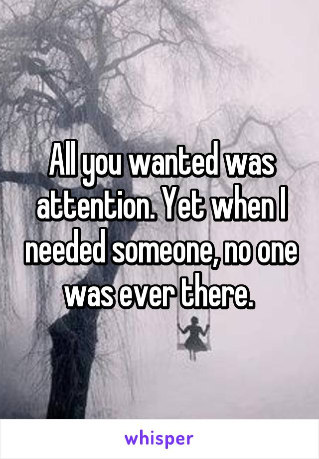 All you wanted was attention. Yet when I needed someone, no one was ever there.