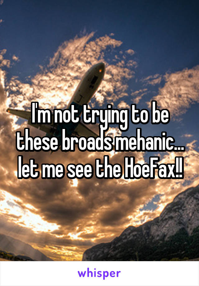 I'm not trying to be these broads mehanic... let me see the HoeFax!!
