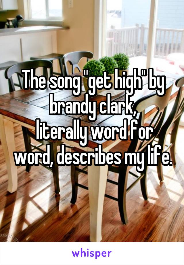 "The song ""get high"" by brandy clark,  literally word for word, describes my life."