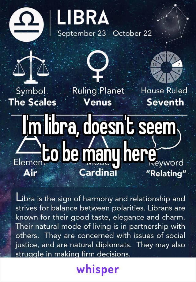 I'm libra, doesn't seem to be many here