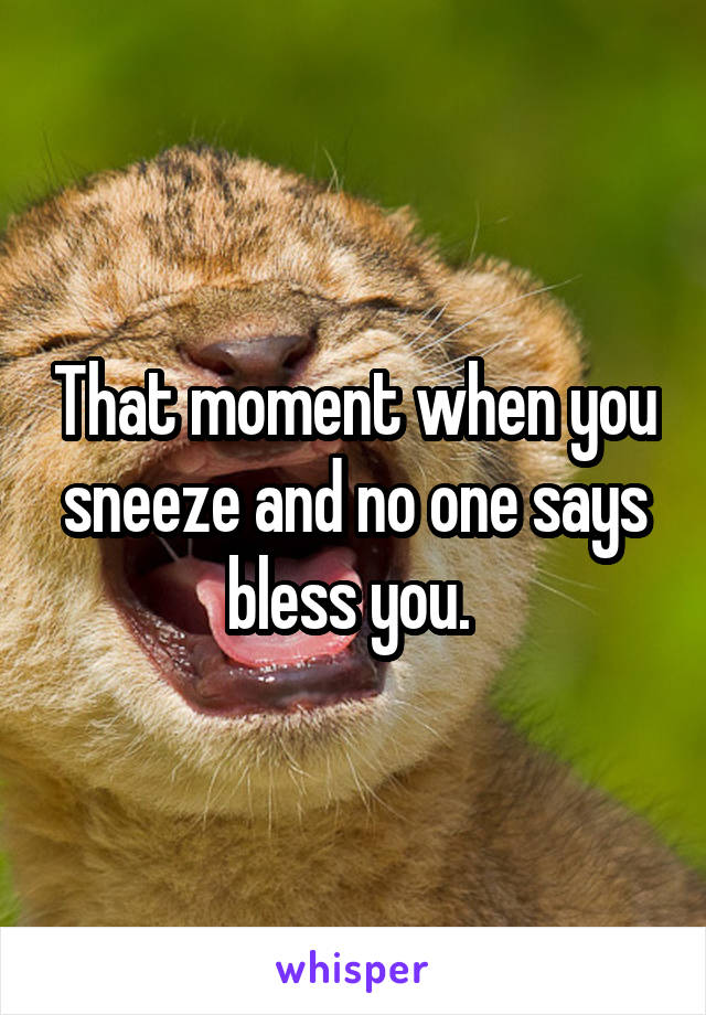 That moment when you sneeze and no one says bless you.