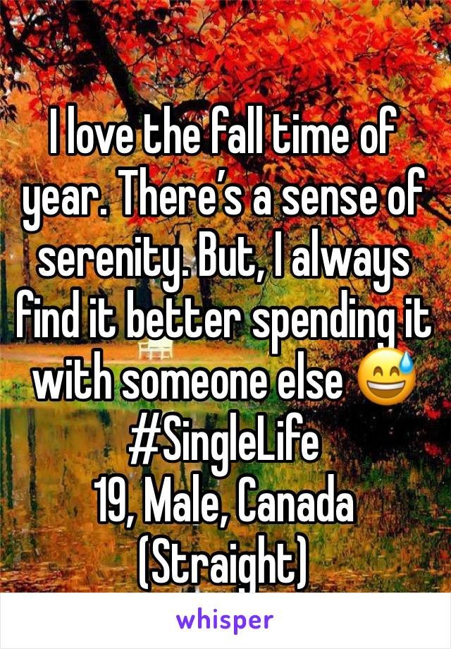I love the fall time of year. There's a sense of serenity. But, I always find it better spending it with someone else 😅  #SingleLife  19, Male, Canada  (Straight)