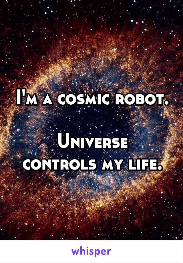 I'm a cosmic robot.  Universe controls my life.