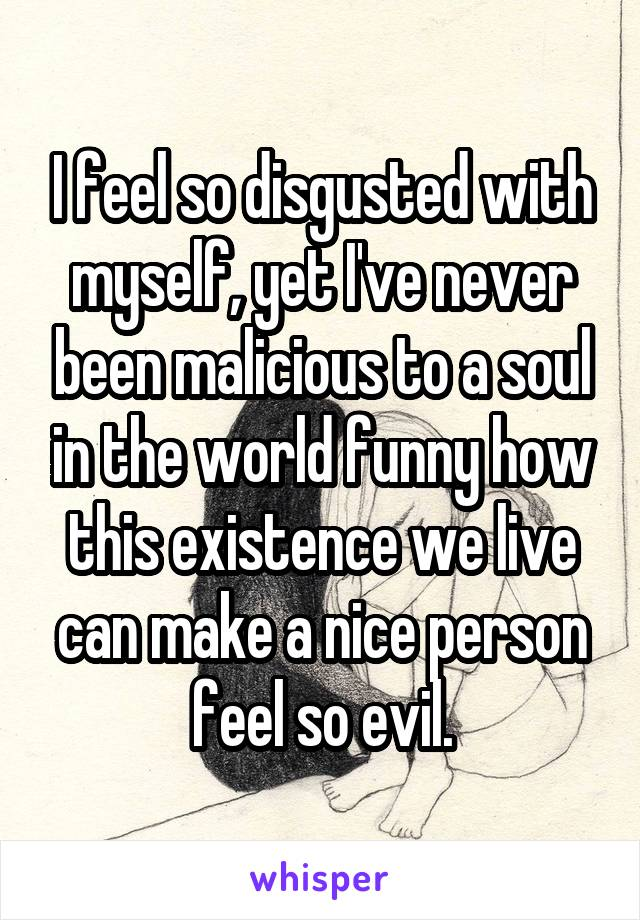 I feel so disgusted with myself, yet I've never been malicious to a soul in the world funny how this existence we live can make a nice person feel so evil.