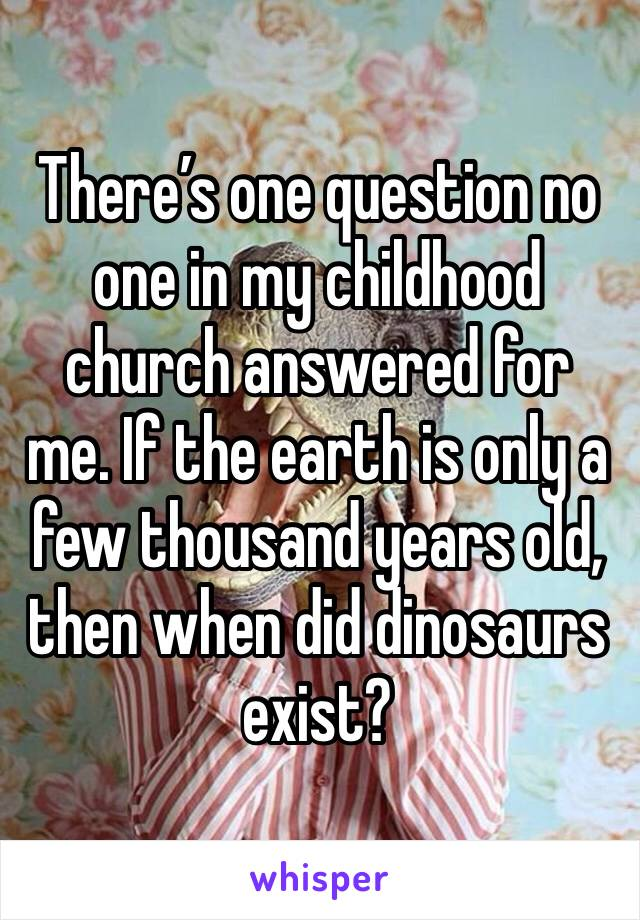 There's one question no one in my childhood church answered for me. If the earth is only a few thousand years old, then when did dinosaurs exist?