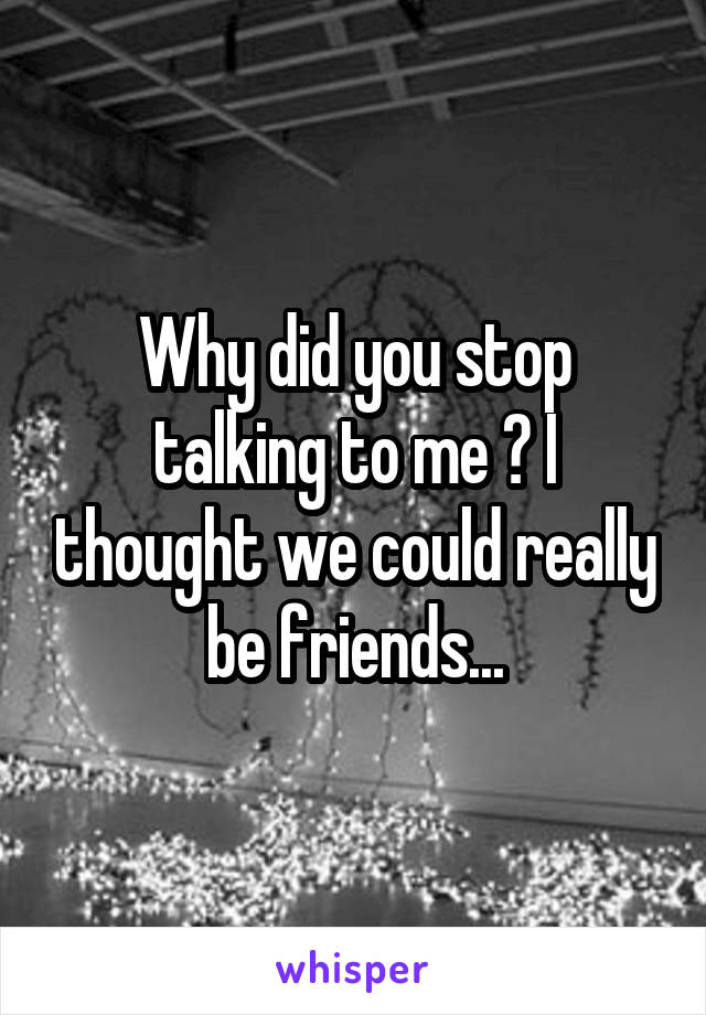 Why did you stop talking to me ? I thought we could really be friends...