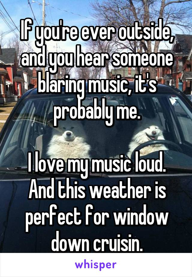 If you're ever outside, and you hear someone blaring music, it's probably me.  I love my music loud. And this weather is perfect for window down cruisin.