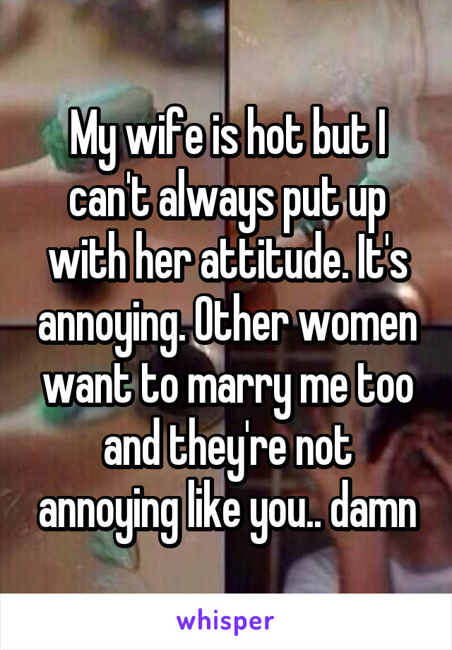 My wife is hot but I can't always put up with her attitude. It's annoying. Other women want to marry me too and they're not annoying like you.. damn