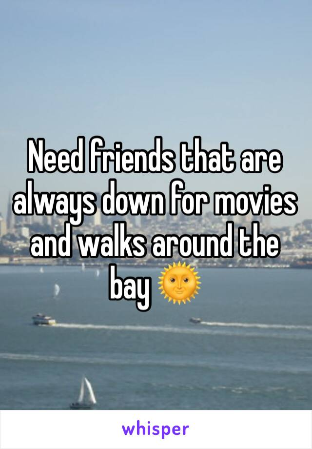 Need friends that are always down for movies and walks around the bay 🌞