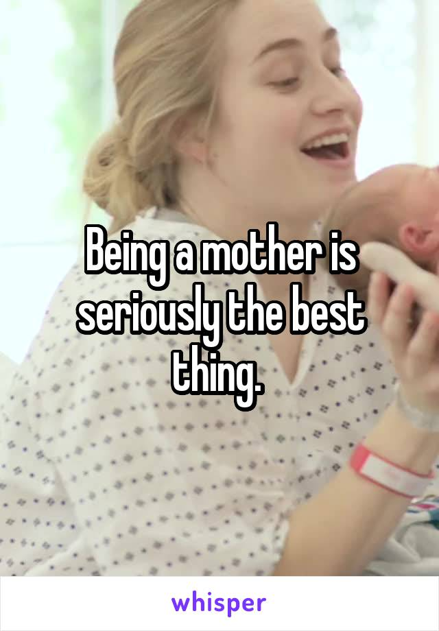 Being a mother is seriously the best thing.