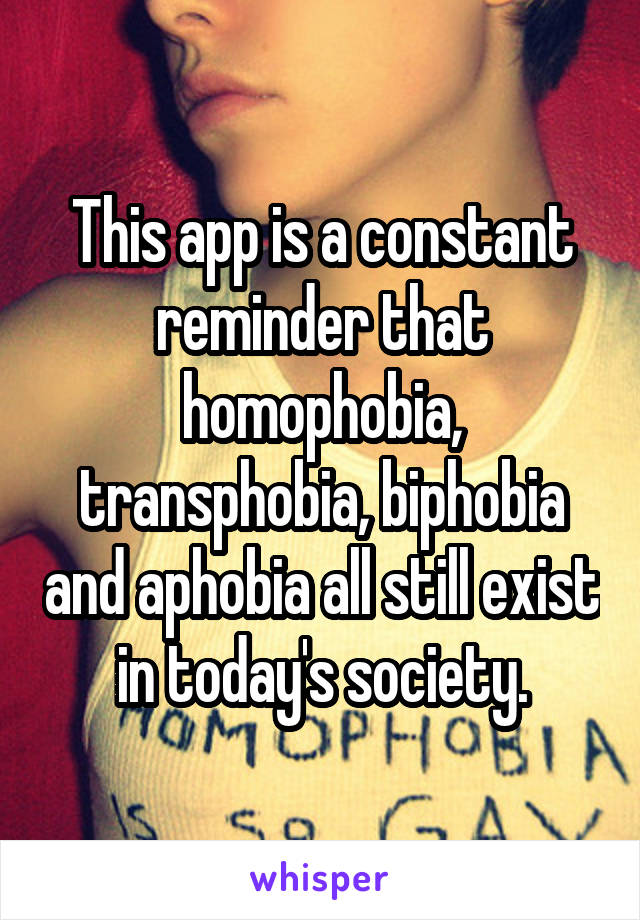 This app is a constant reminder that homophobia, transphobia, biphobia and aphobia all still exist in today's society.