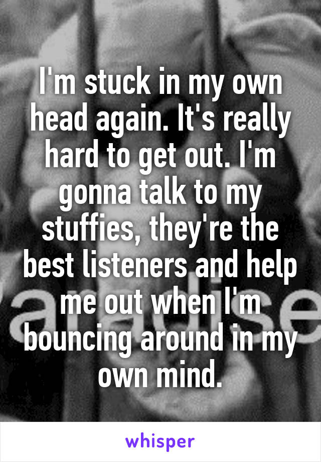I'm stuck in my own head again. It's really hard to get out. I'm gonna talk to my stuffies, they're the best listeners and help me out when I'm bouncing around in my own mind.