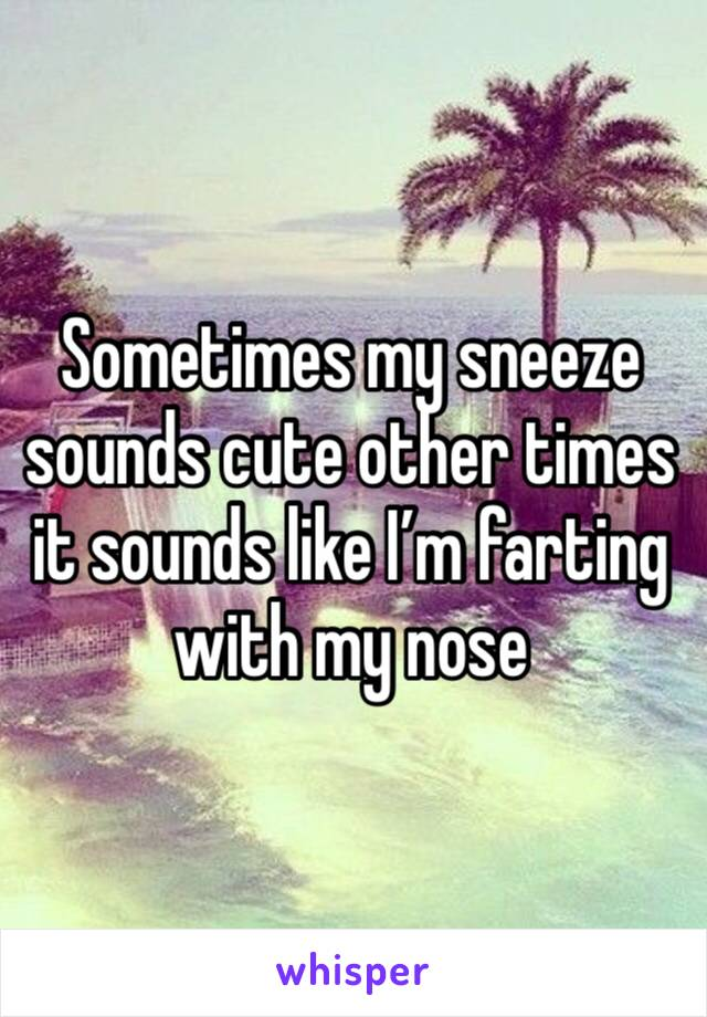 Sometimes my sneeze sounds cute other times it sounds like I'm farting with my nose