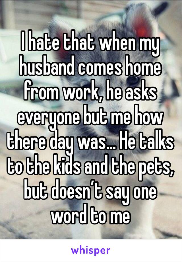 I hate that when my husband comes home from work, he asks everyone but me how there day was... He talks to the kids and the pets, but doesn't say one word to me