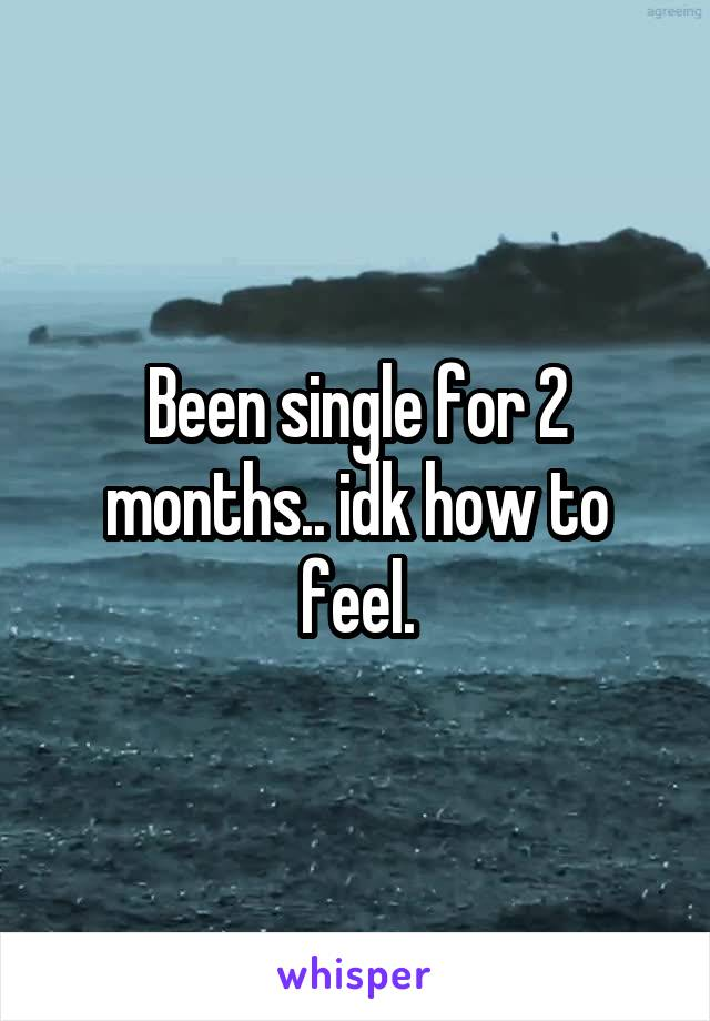 Been single for 2 months.. idk how to feel.