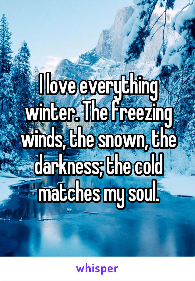 I love everything winter. The freezing winds, the snown, the darkness; the cold matches my soul.