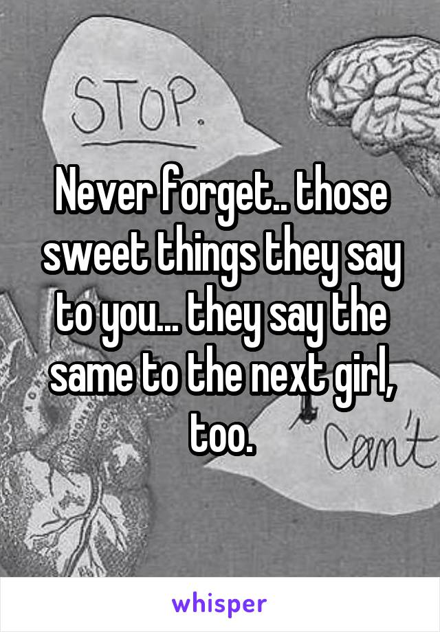 Never forget.. those sweet things they say to you... they say the same to the next girl, too.
