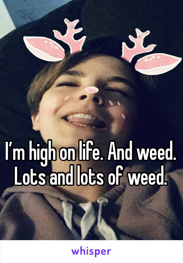 I'm high on life. And weed. Lots and lots of weed.